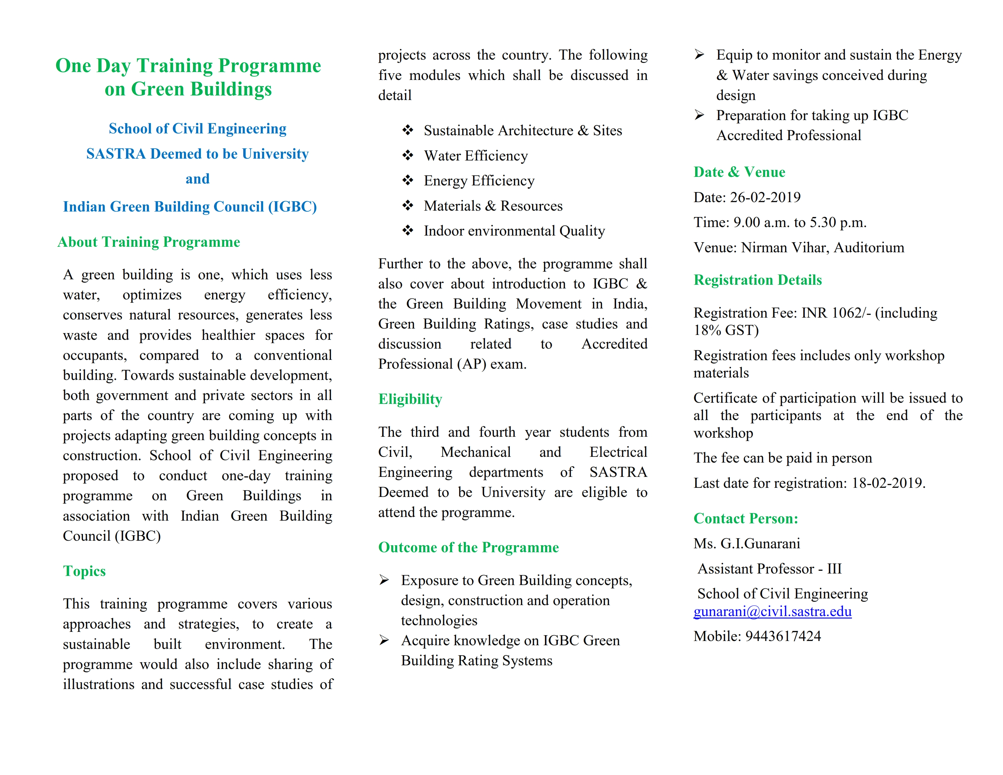 Training Programme on Green Building